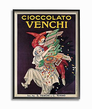 Cioccolato Venchi Vintage Poster Candy 24x30 Black Frame Wall Art, Black, large