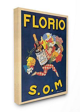Florio Vintage Poster Drink Design 36x48 Canvas Wall Art, Blue, large