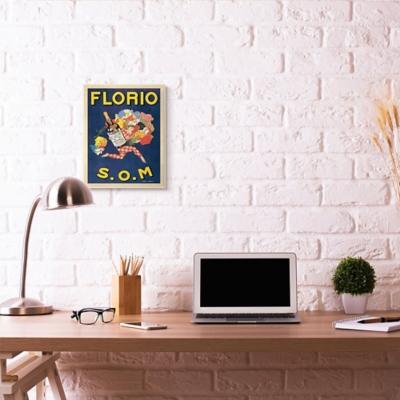 Florio Vintage Poster Drink Design 13x19 Wall Plaque, Blue, large