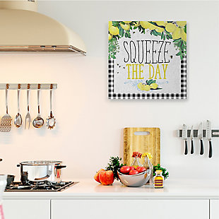 Squeeze The Day Kitchen Humor 36x36 Canvas Wall Art, White, rollover