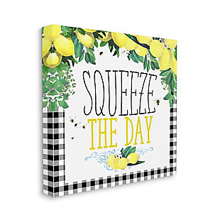 Squeeze The Day Kitchen Humor 36x36 Canvas Wall Art, White, large