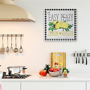 Easy Peazy Lemon Squeezy 36x36 Canvas Wall Art, White, rollover