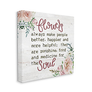 Flowers For The Soul 36x36 Canvas Wall Art, White, large