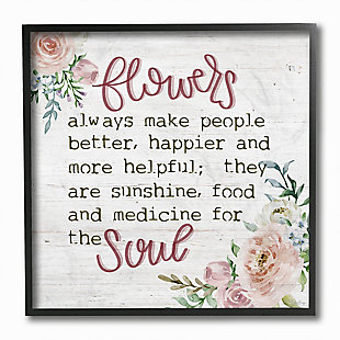 Flowers For The Soul 12x12 Black Frame Wall Art, , large