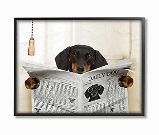 Dog On Toilet Newspaper 11x14 Black Frame Wall Art, , large
