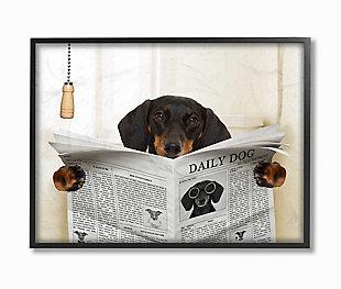 Dog On Toilet Newspaper 24x30 Black Frame Wall Art, Beige, large