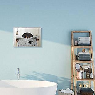Dog On Toilet Newspaper 16x20 Gray Frame Wall Art, Beige, rollover