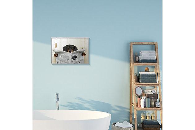 Dog On Toilet Newspaper 16x20 Gray Frame Wall Art, Beige, large