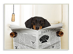 Dog On Toilet Newspaper 13x19 Wall Plaque, Beige, large