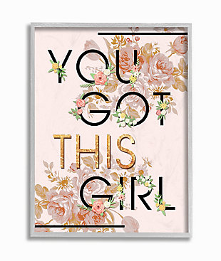 You Got This Girl 16x20 Gray Frame Wall Art, Pink, large
