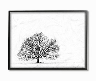 Winter Tree Silhouette 24x30 Black Frame Wall Art, , large