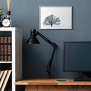 Winter Tree Silhouette 16x20 Gray Frame Wall Art, White, rollover
