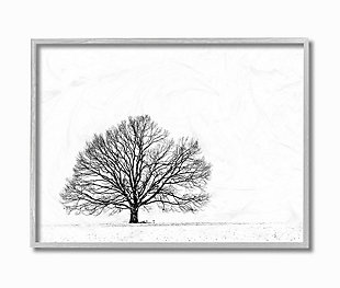 Winter Tree Silhouette 16x20 Gray Frame Wall Art, White, large