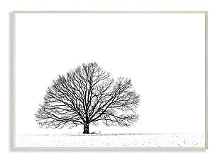 Winter Tree Silhouette 13x19 Wall Plaque, White, large