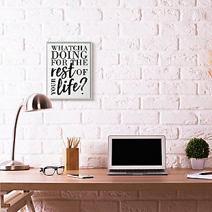 Watcha Doing Inspirational 16x20 Gray Frame Wall Art, White, rollover