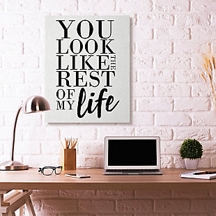 You Look Like Romantic 36x48 Canvas Wall Art, White, rollover
