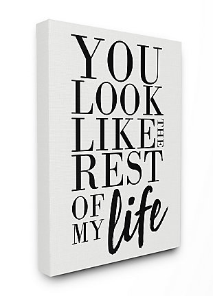 You Look Like Romantic 36x48 Canvas Wall Art, White, large