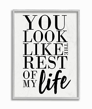 You Look Like Romantic 16x20 Gray Frame Wall Art, White, large