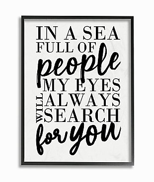 Always Search For You Romantic 24x30 Black Frame Wall Art, White, large