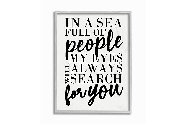 Always Search For You Romantic 16x20 Gray Frame Wall Art, White, large