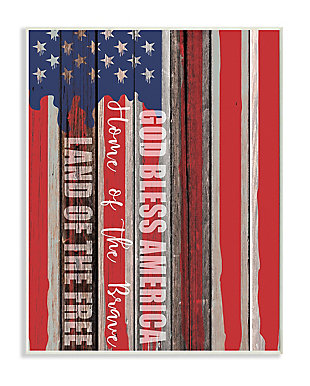 God Bless America 13x19 Wall Plaque, Red/Blue, large