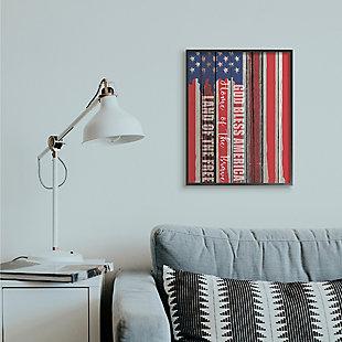 God Bless America 24x30 Black Frame Wall Art, Red/Blue, rollover