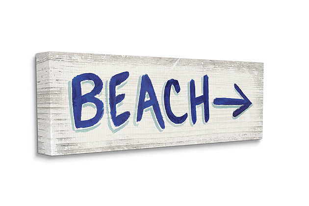 Beach This Way Arrow Sign 20x48 Wall Art, Beige, large