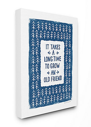 Grow An Old Friend Quote 36x48 Canvas Wall Art, White/Blue, large