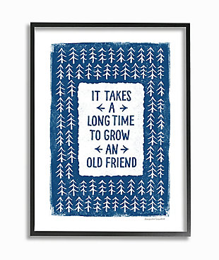 Grow An Old Friend Quote 24x30 Black Frame Wall Art, White/Blue, large