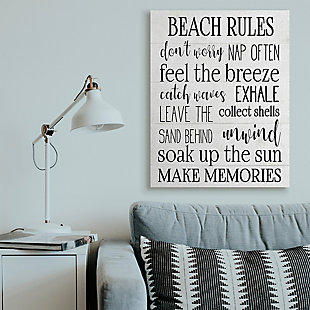 Beach House Rules Relaxing Activities 36x48 Canvas Wall Art, White, rollover