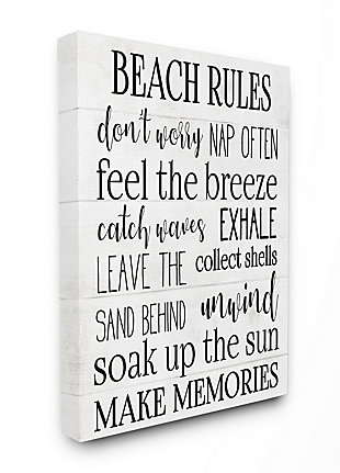 Beach House Rules Relaxing Activities 36x48 Canvas Wall Art, White, large