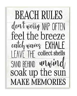 Beach House Rules Relaxing Activities 13x19 Wall Plaque, White, large