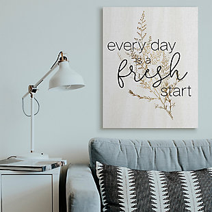 Everyday Fresh Start Quote 36x48 Canvas Wall Art, White, rollover