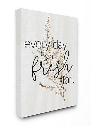 Everyday Fresh Start Quote 36x48 Canvas Wall Art, White, large