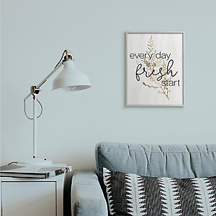 Everyday Fresh Start Quote Text 16x20 Gray Frame Wall Art, White, rollover