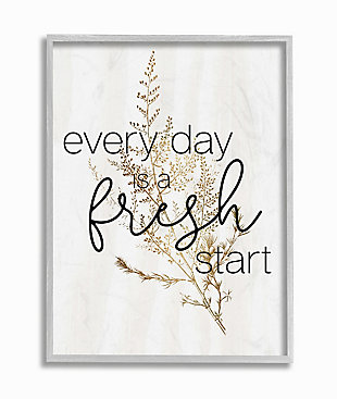 Everyday Fresh Start Quote Text 16x20 Gray Frame Wall Art, White, large
