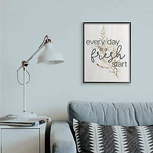 Everyday Fresh Start Quote Text 24x30 Black Frame Wall Art, White, rollover