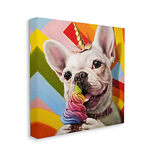 Rainbow French Bulldog Unicorn Ice Cream 17x17 Canvas Wall Art, , large
