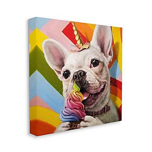 Rainbow French Bulldog Unicorn Ice Cream 30x30 Canvas Wall Art, , large