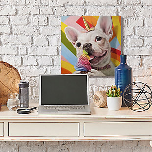 Rainbow French Bulldog Unicorn Ice Cream 36x36 Canvas Wall Art, , rollover