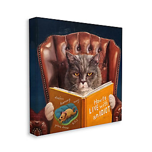 Angry Cat Reading Dog Book 24x24 Canvas Wall Art, , large