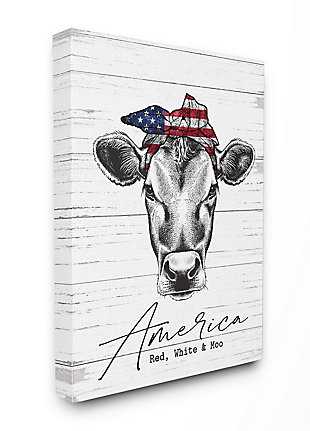 Americana Cow Red White and Moo 36x48 Canvas Wall Art, White/Gray, large