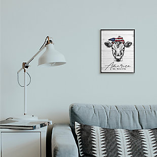 Americana Cow Red White And Moo 11x14 Black Frame Wall Art, White/Gray, rollover