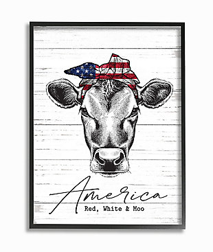 Americana Cow Red White And Moo 11x14 Black Frame Wall Art, White/Gray, large