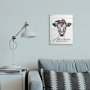 Americana Cow Red White and Moo 13x19 Wall Plaque, White/Gray, rollover