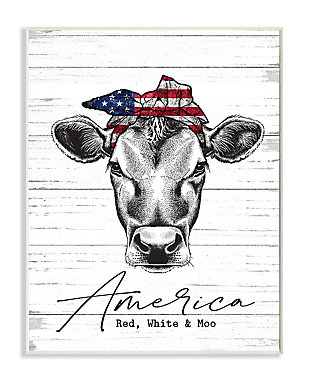 Americana Cow Red White and Moo 13x19 Wall Plaque, White/Gray, large