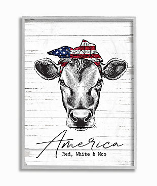 Americana Cow Red White And Moo 16x20 Gray Frame Wall Art, White/Gray, large