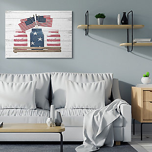Rustic Patriotic Jars American Pride Flag 36x48 Canvas Wall Art, White, rollover