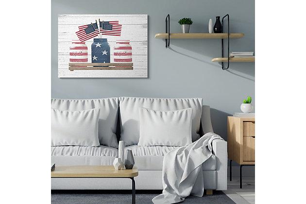 Rustic Patriotic Jars American Pride Flag 36x48 Canvas Wall Art, White, large