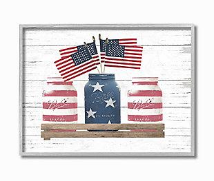 Rustic Patriotic Jars American Pride Flag 16x20 Gray Frame Wall Art, White, large